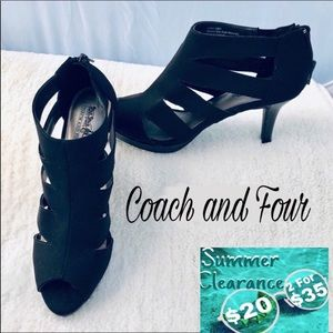 Coach and Four Strappy Low Black Heels
